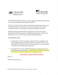 NASW coverage letter