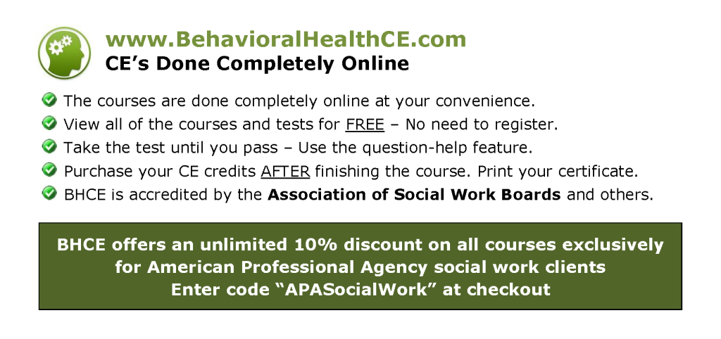 Social Work CE Course Provider